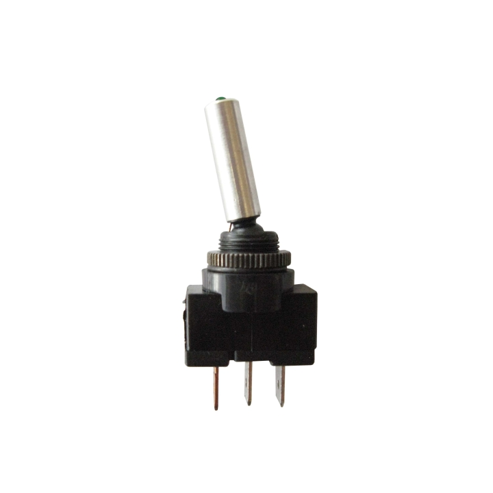 123-SWL013G <BR />Green Illuminated L.E.D. Two Position Toggle Switch