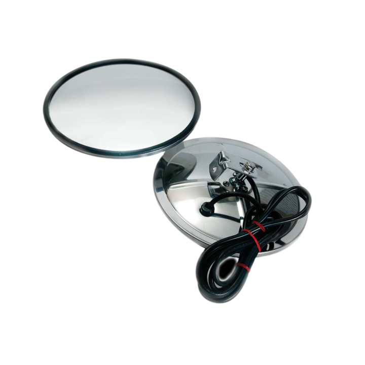 "124-6308BH <BR />8"" Stainless Steel Convex Mirror – Center Mount Heated"