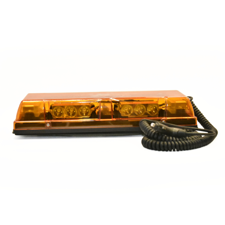 "126-67085MA  <BR />6"" x 17″ L.E.D. Amber Low Profile Warning Beacon Strobe – Magnetic"