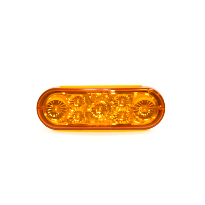 "127-66102AB (Bulk)<BR />6"" x 2"" Oval ""Compact CountTM"" L.E.D. Sealed S/T/T Lamp – Amber"