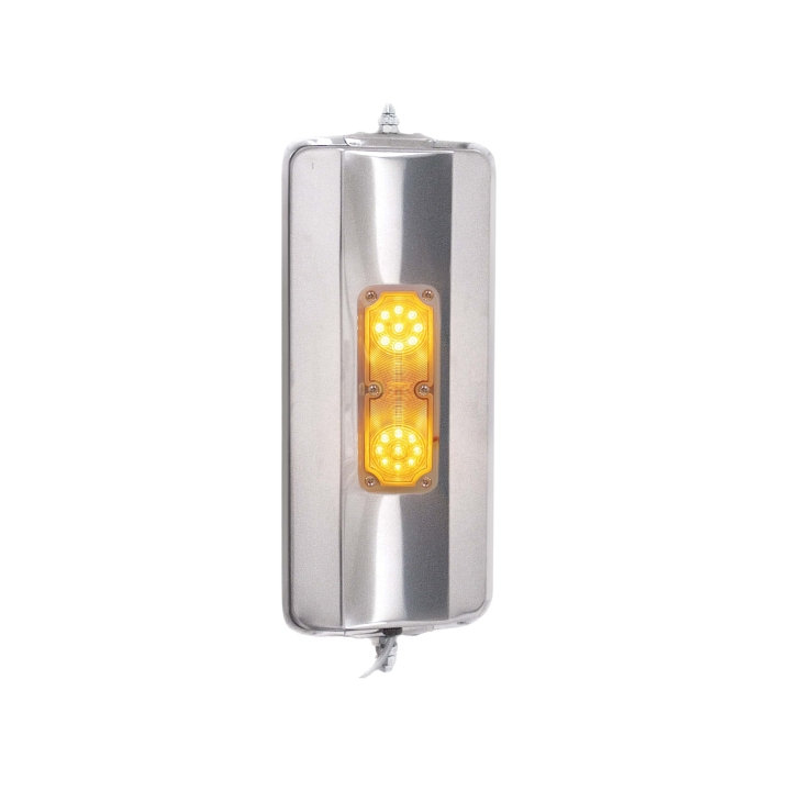 """124-6364LED <BR />16"""" × 7"""" West Coast Stainless Steel Mirror Heated / Lit with L.E.D. Marker Light"""