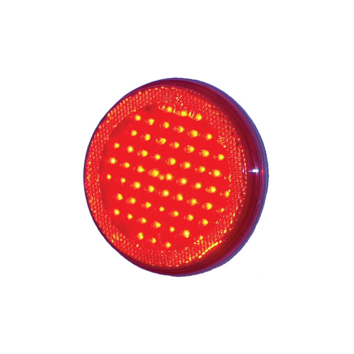 "127-43044-4 <BR />4"" Round Reflectorized ""Maximum CountTM"" L.E.D. Sealed S/T/T Lamp – Red"