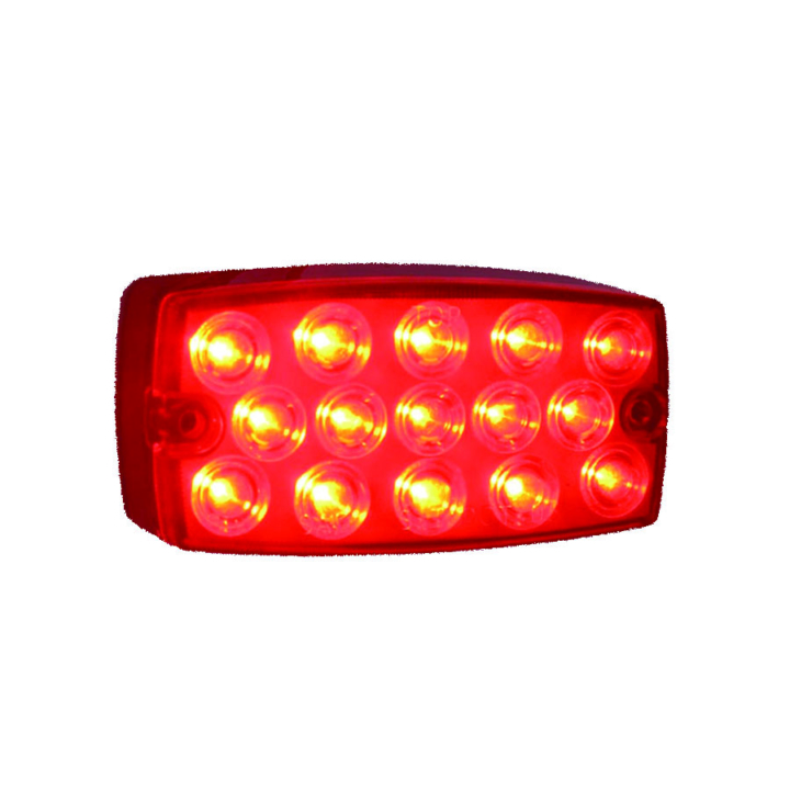 "127-5050R-4 <BR /> 2""x 4"" Rectangular Red L.E.D. Sealed Lamp – Red"