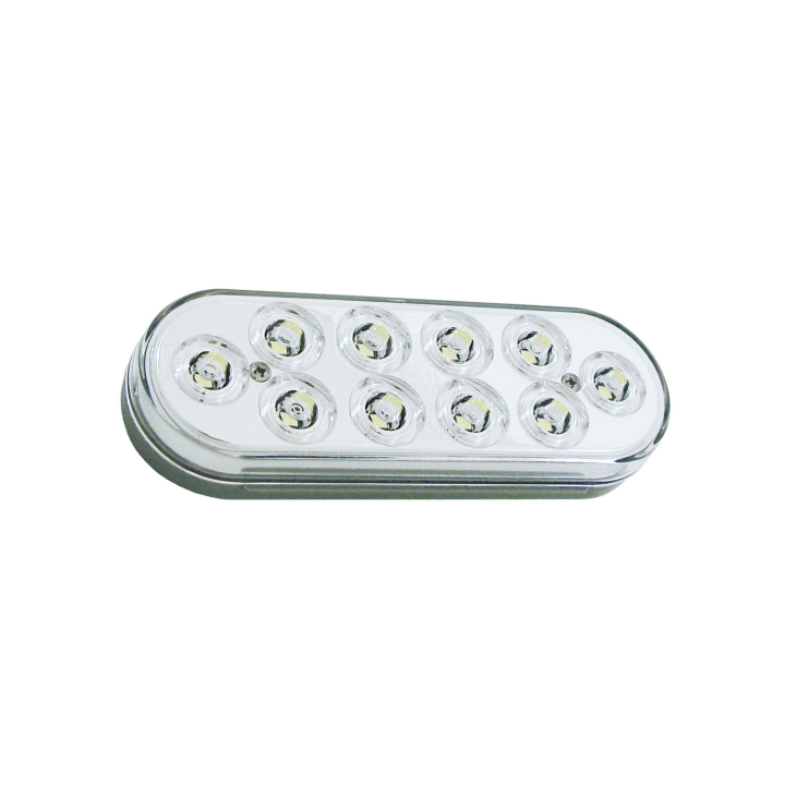 "127-60310WB (Bulk)<BR /> 6"" x 2"" Oval ""Compact CountTM"" L.E.D. Sealed S/T/T Lamp – White – Back-up Lamp"