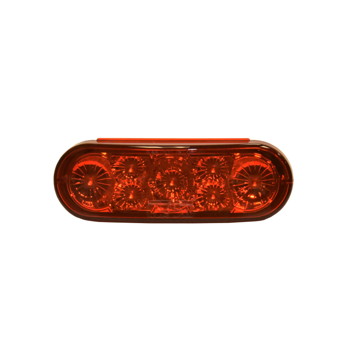 "127-66102RB (Bulk)<BR /> 6"" x 2"" Oval ""Compact CountTM"" L.E.D. Sealed S/T/T Lamp – Red"