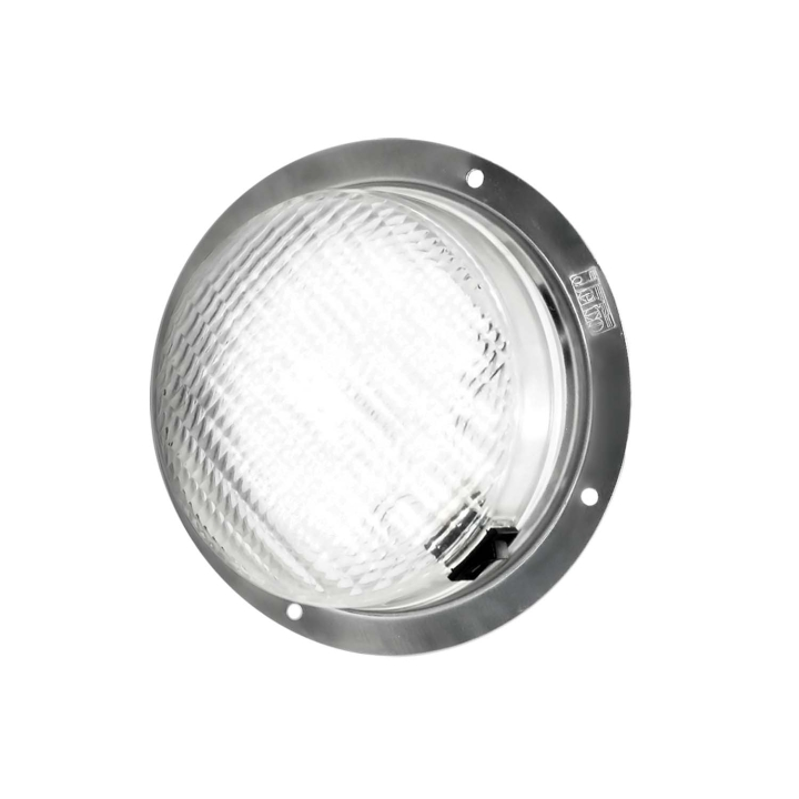 "127-66781-8 <BR /> 6"" L.E.D. Dome Light (White) with Metal Mounting Base"