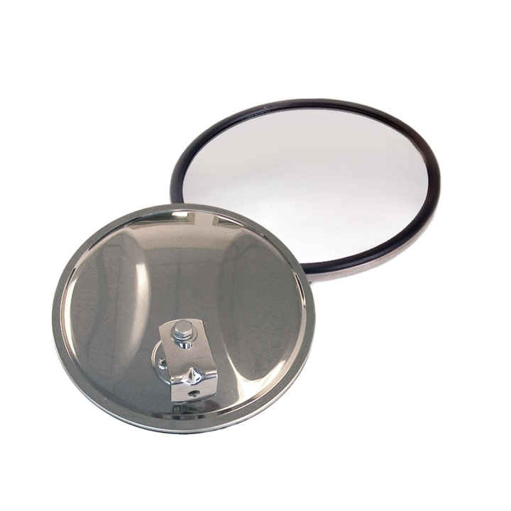 "124-6408A <BR />8"" Stainless Steel Convex Mirror – Off-center Mount"
