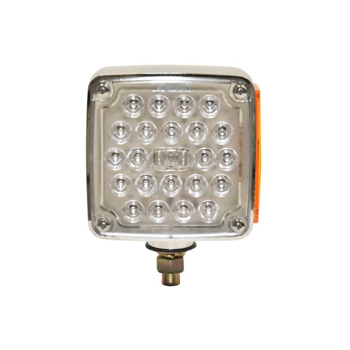 """127-66031LCL <BR /> 4.5"""" Square Single-Stud Dual-faced Clear Lens L.E.D. S/T/T Pedestal Lamp – Left"""