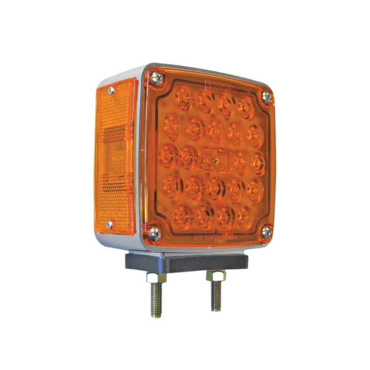 """127-66033A <BR /> 4.5"""" Square 2-Stud Dual-faced Amber L.E.D. S/T/T Pedestal Lamp"""