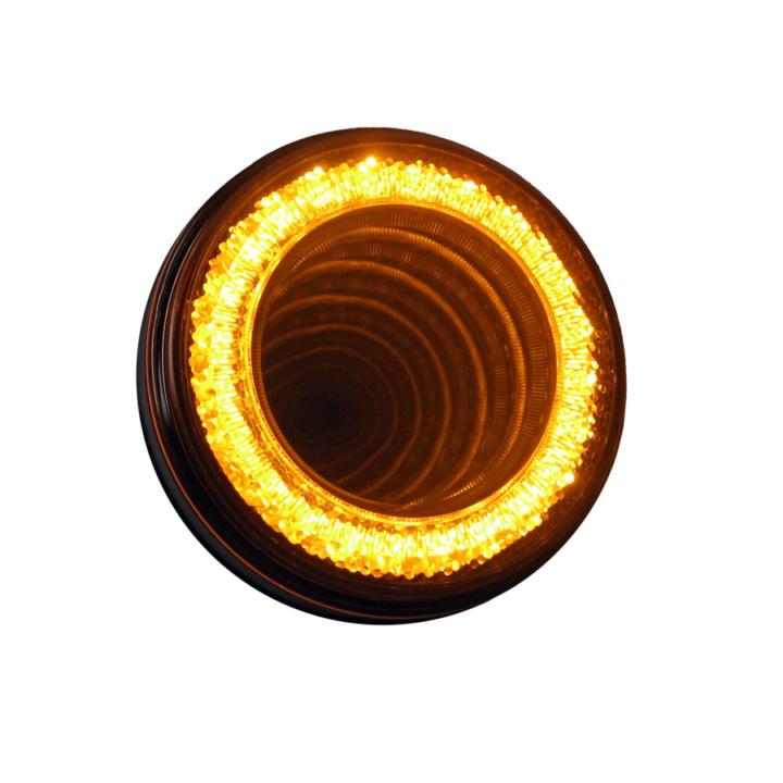 "127-40324AB <BR /> VORTEX <br/> AMBER <br/> 4"" Round High Visibility L.E.D S/T/T Lights (12V)"