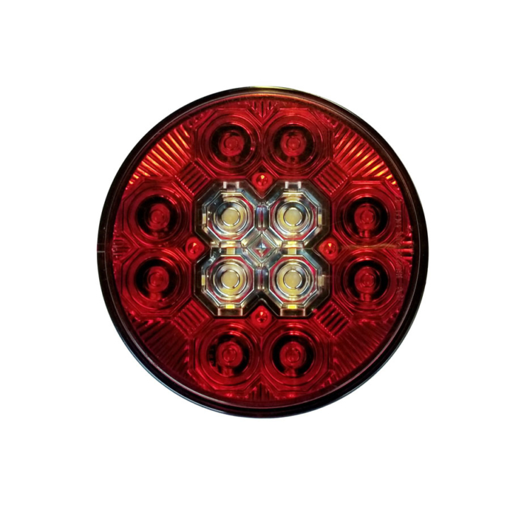 127-40328RWB INTEGRATED High Visibility Round L.E.D S/T/T Lights Backup (12V)